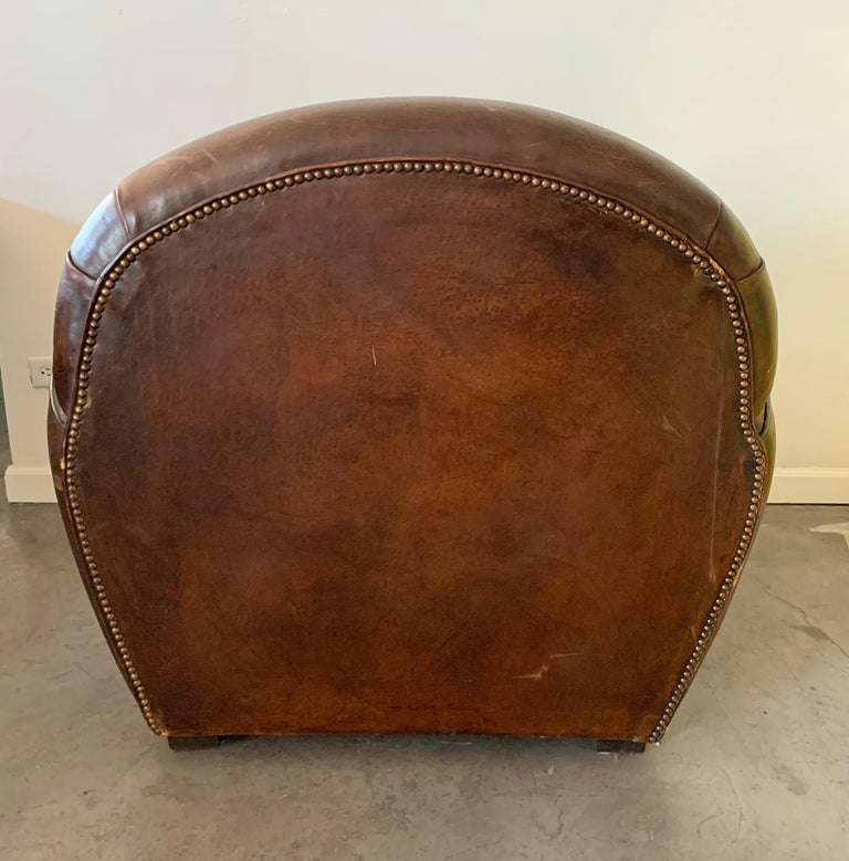 French Art Deco Leather Club Chair, 1940s In Distressed Condition For Sale In Las Vegas, NV