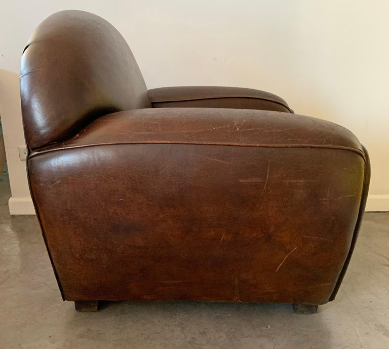 French Art Deco Leather Club Chair, 1940s For Sale 1