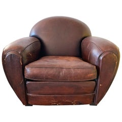 French Art Deco Leather Club Chair, 1940s