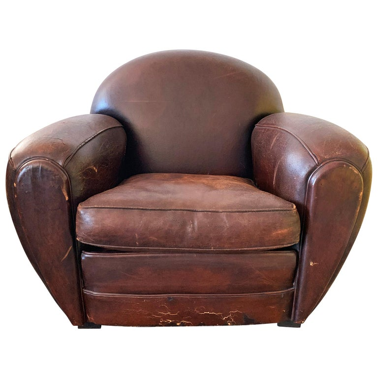French Art Deco Leather Club Chair, 1940s For Sale