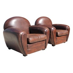 Pair of French Art Deco Leather Club Chairs, 1940s