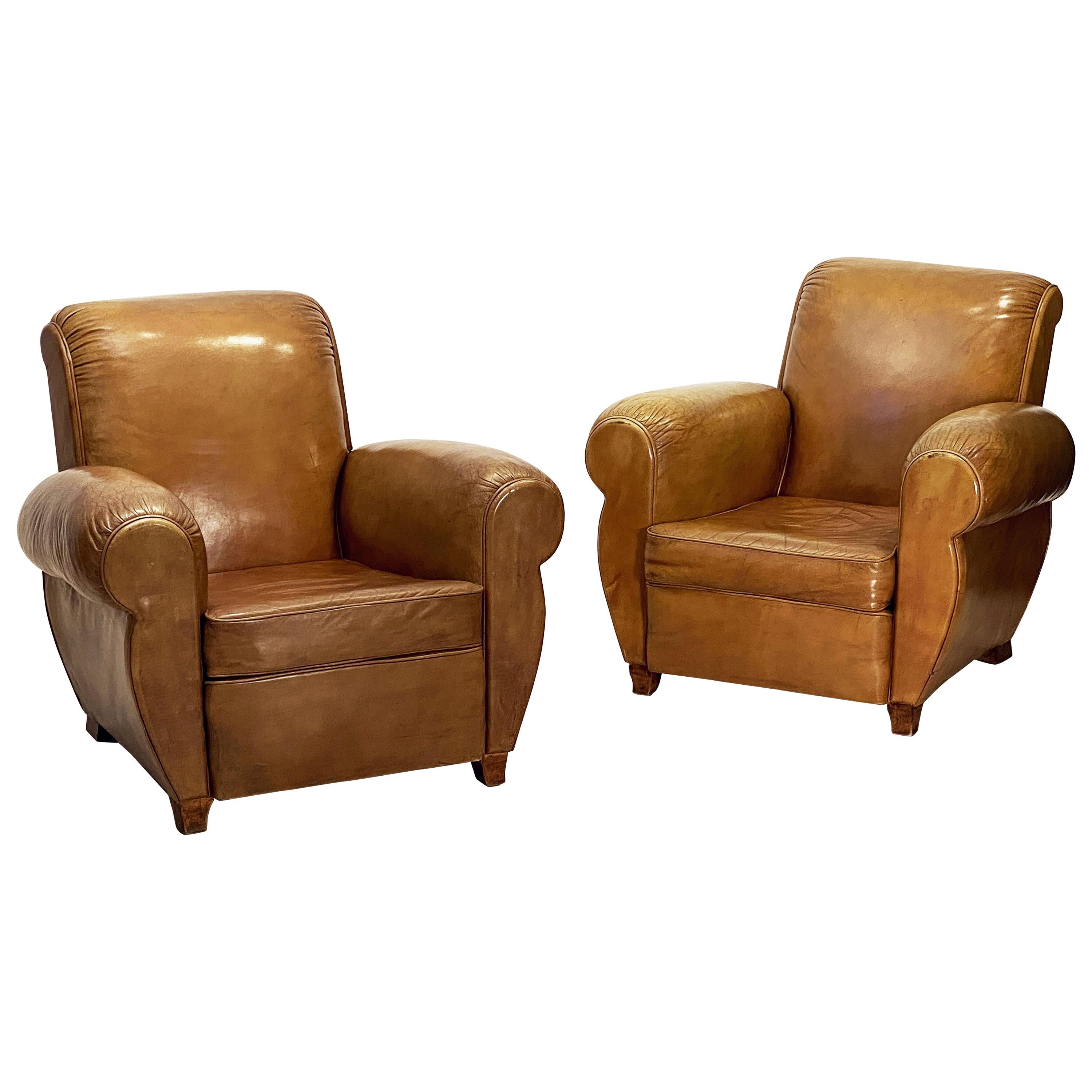 French Art Deco Leather Club Chairs 'Priced as a Pair'