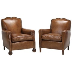 French Art Deco Leather Club Chairs, Restored to a High Standard, Down Cushions