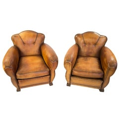 French Art Deco Leather Moustache Club Chairs