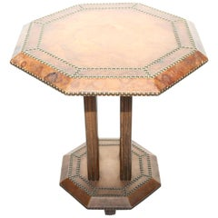 French Art Deco Leather Studded Octagonal Side Table