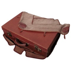 French Art Deco Leather Suit Case with Original Canvas Cover