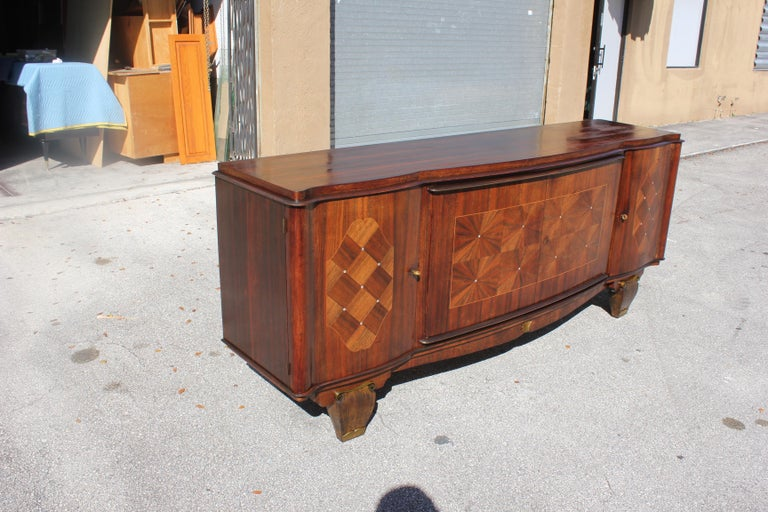 French, Art Deco Leleu Style Palisander/ M-O-P Sideboard or Buffet, circa 1940 For Sale 9