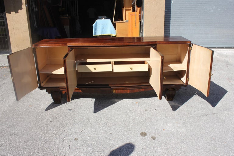French, Art Deco Leleu Style Palisander/ M-O-P Sideboard or Buffet, circa 1940 In Good Condition For Sale In Hialeah, FL