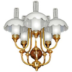French Art Deco Library Oil Lamp Chandelier Gilt Brass and Opaline Glass Shades