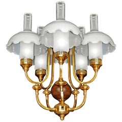 French Art Deco Library Oil Lamp Chandelier Gilt Brass Wood Opaline Glass Shades