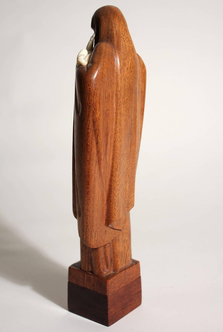 Mid-20th Century French Art Deco Listed Artist Lucienne Heuvelmans Madonna & Child Sculpture For Sale