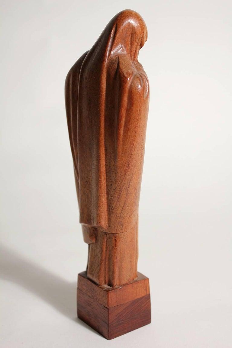 French Art Deco Listed Artist Lucienne Heuvelmans Madonna & Child Sculpture For Sale 1