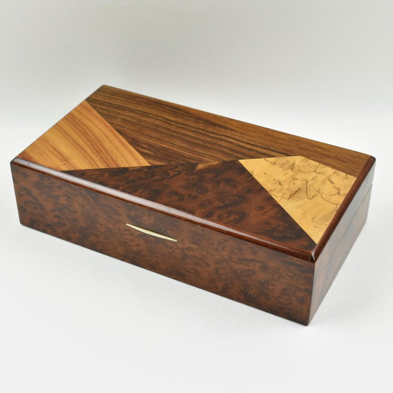 Elegant French Art Deco Decorative Lidded Box Featuring A Rectangular Minimalist Shape With Varnished Burl
