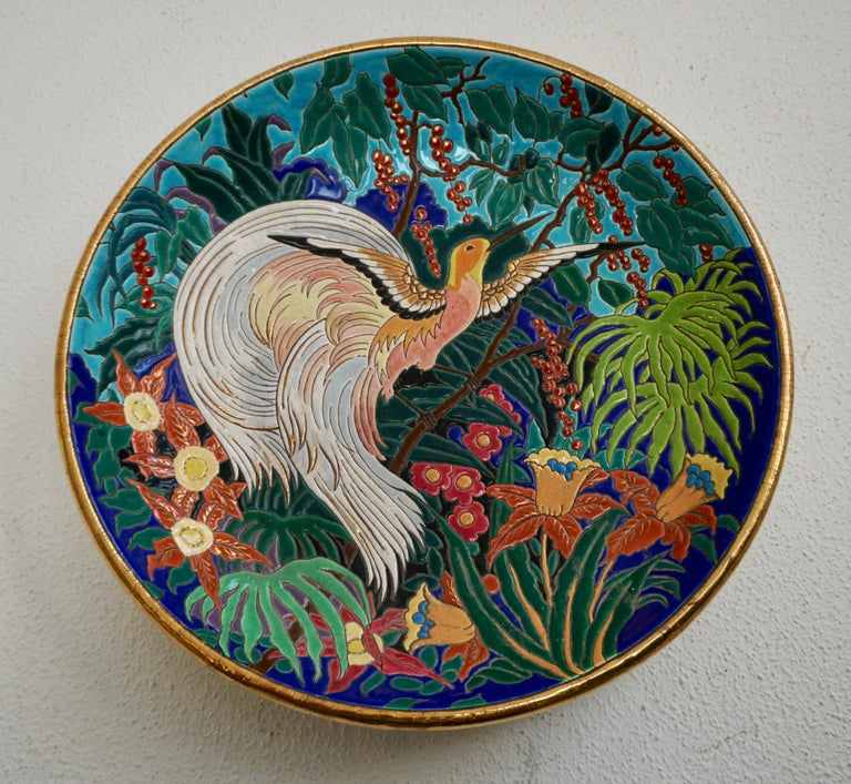 Hollywood Regency French Art Deco Longwy Ceramic Charger Bowl For Sale