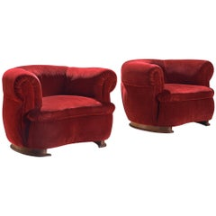 French Art Deco Lounge Chairs in Red Velvet Upholstery