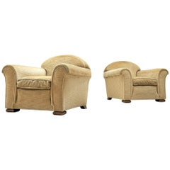 French Art Deco Lounge Chairs in Sand Color Fabric