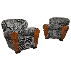 French Art Deco Lounge Club Chairs in Burl Wood and Zebra Velvet, circa 1930