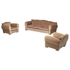French Art Deco Lounge Set in Taupe Velvet by Maurice Rinck