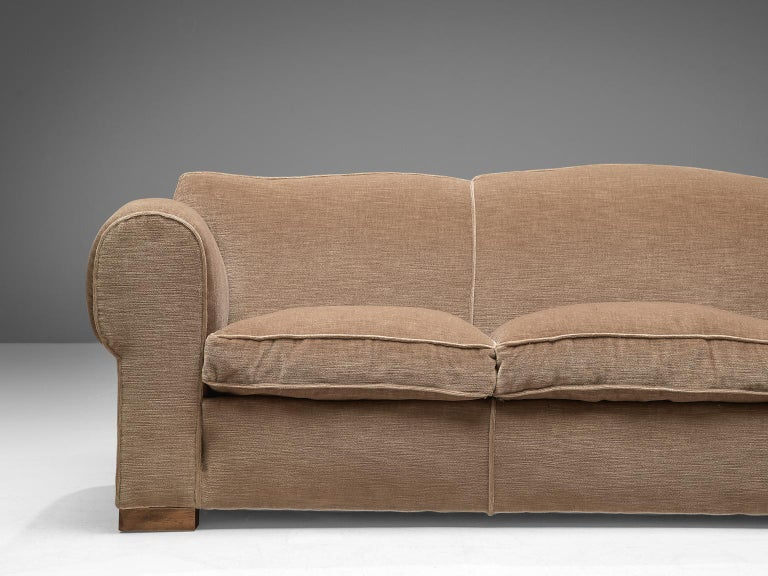 French Art Deco Lounge Set in Taupe Velvet For Sale 6