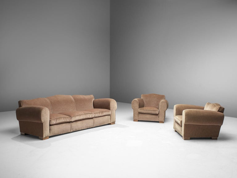 French Art Deco Lounge Set in Taupe Velvet In Good Condition For Sale In Waalwijk, NL