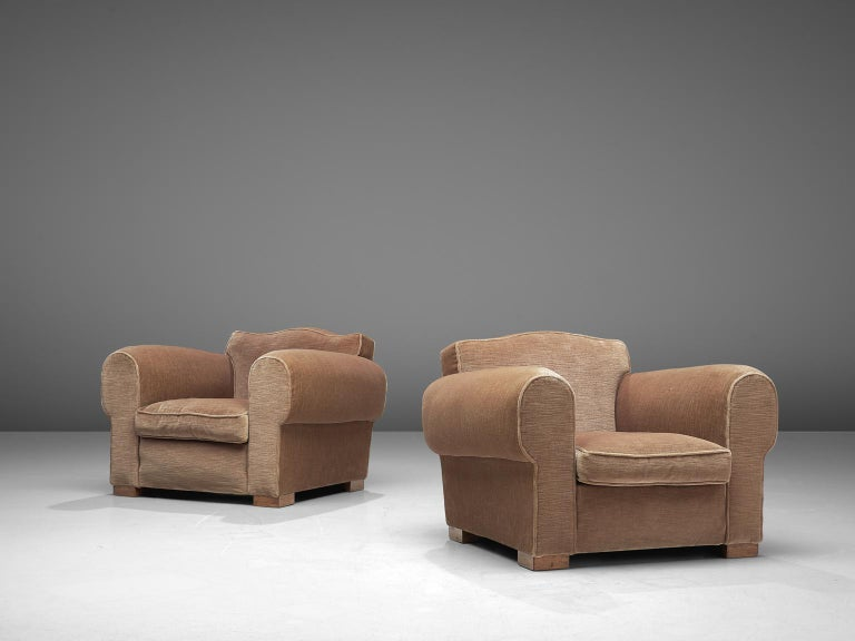 Mid-20th Century French Art Deco Lounge Set in Taupe Velvet For Sale