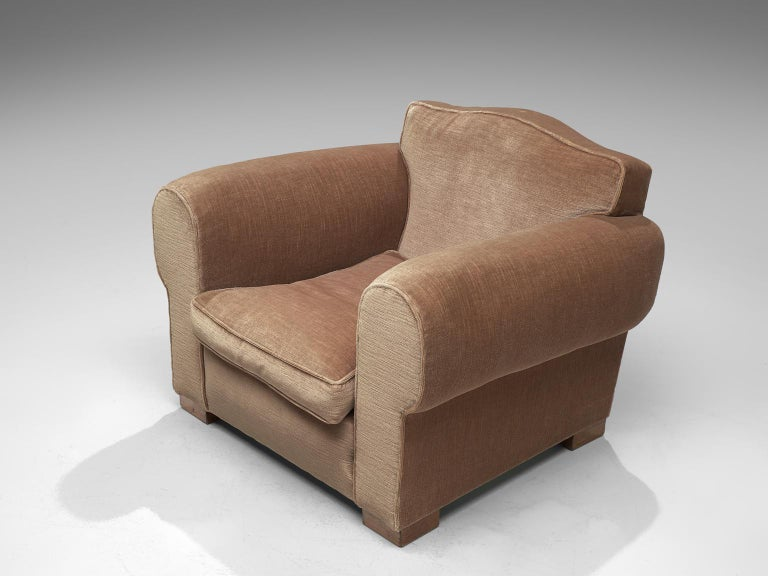 French Art Deco Lounge Set in Taupe Velvet For Sale 2