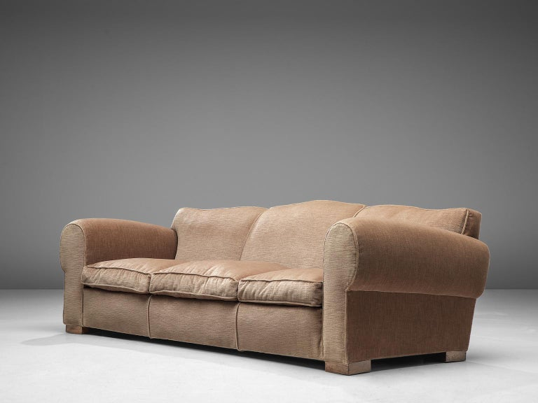 French Art Deco Lounge Set in Taupe Velvet For Sale 5