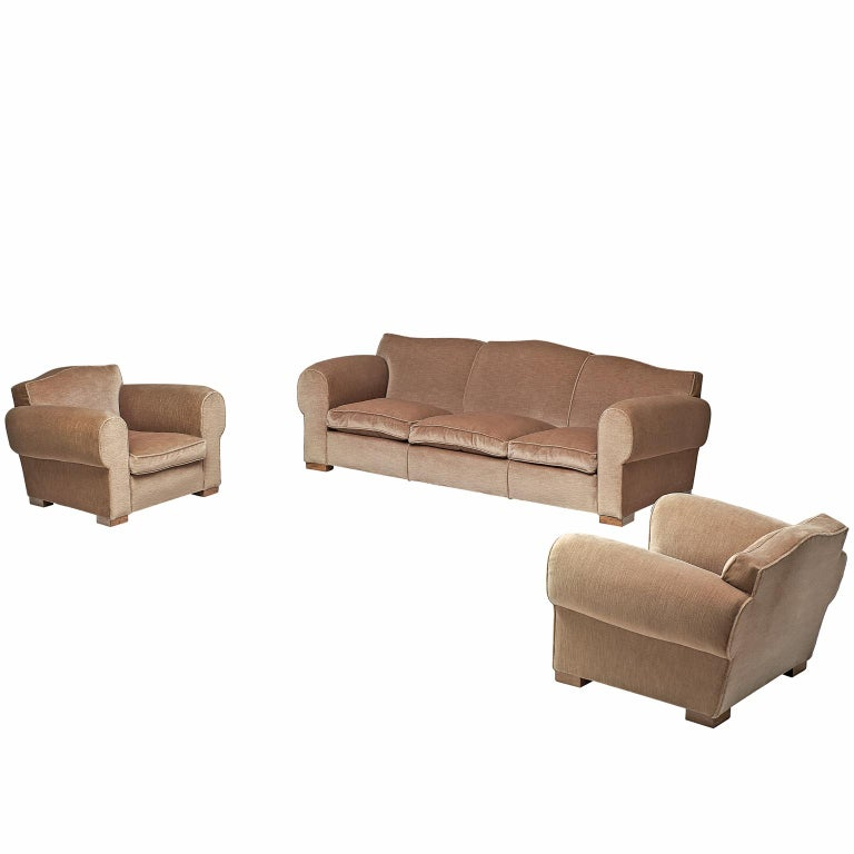 French Art Deco Lounge Set in Taupe Velvet For Sale