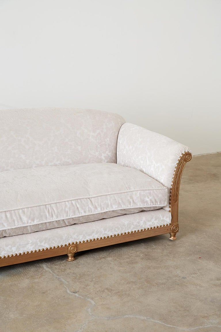 French Art Deco Low Profile Velvet Sofa In Good Condition For Sale In Oakland, CA