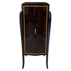 French Art Deco Macassar and Brass Bar Cabinet