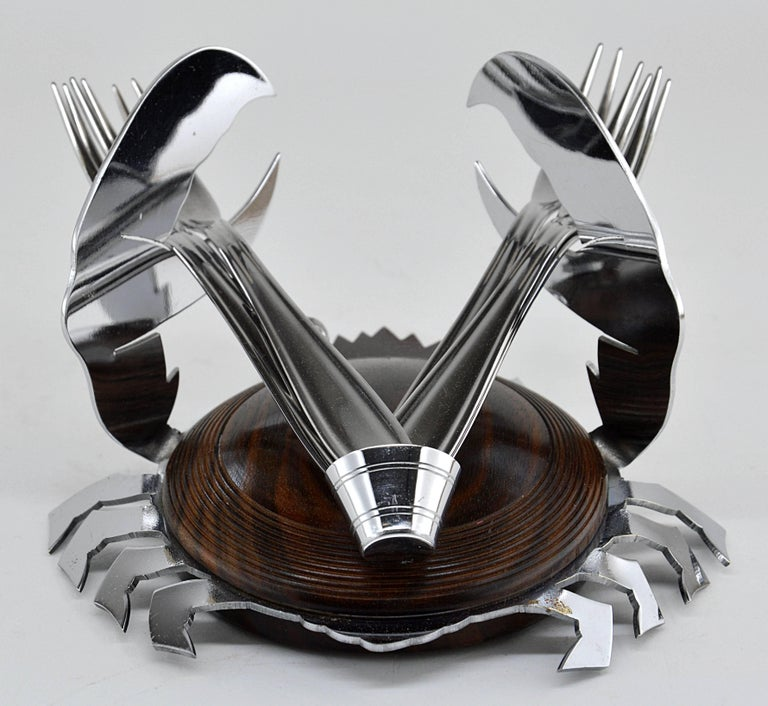 Early 20th Century French Art Deco Macassar and Chrome Shellfish Set, circa 1925 For Sale