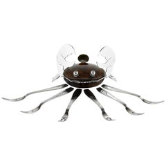 French Art Deco Macassar and Chrome Shellfish Set, circa 1925