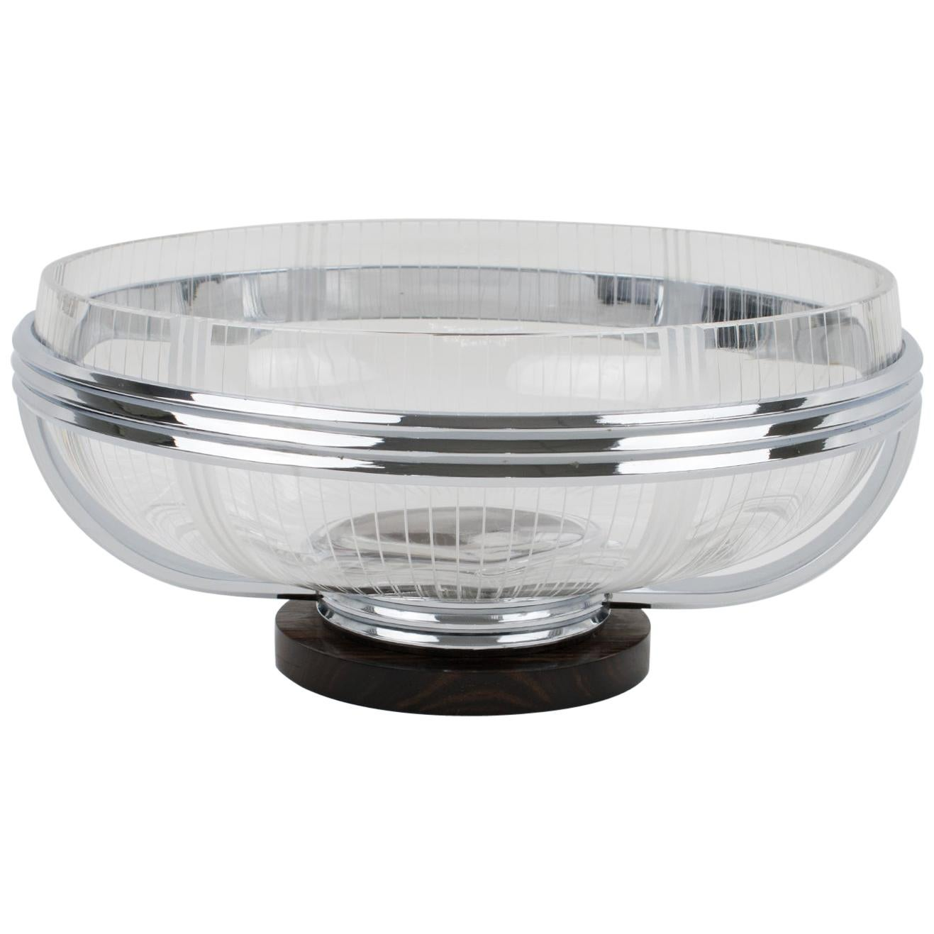 French Art Deco Macassar and Crystal Centerpiece Bowl