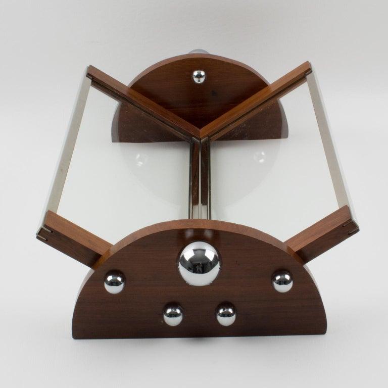 Metal French Art Deco Macassar Chrome Centerpiece Bowl Basket For Sale