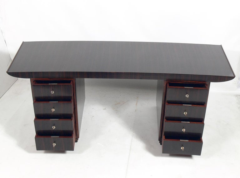 Plated French Art Deco Macassar Desk by Dominique For Sale