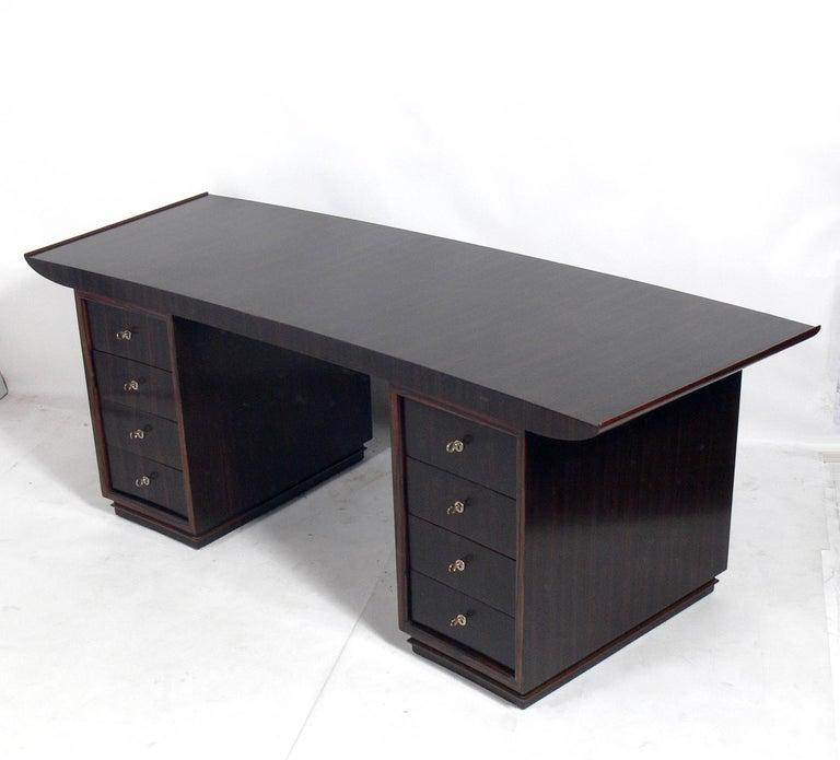 French Art Deco Macassar Desk by Dominique In Good Condition For Sale In Atlanta, GA