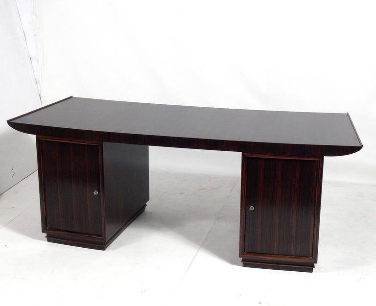 Wood French Art Deco Macassar Desk by Dominique For Sale