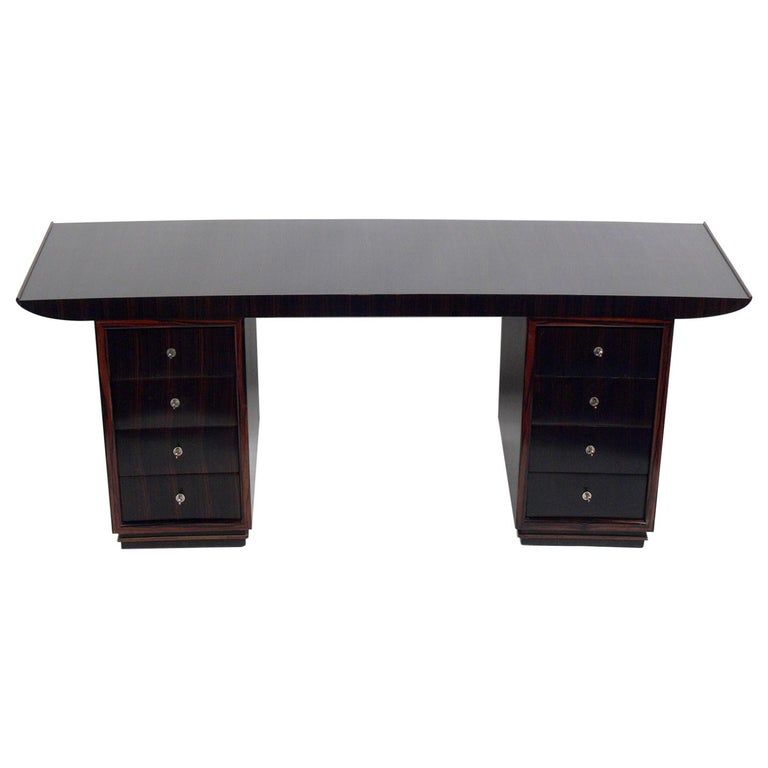 French Art Deco Macassar Desk by Dominique For Sale
