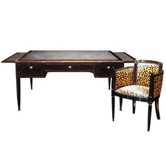 French Art Deco Macassar Ebony & Mahogany Desk