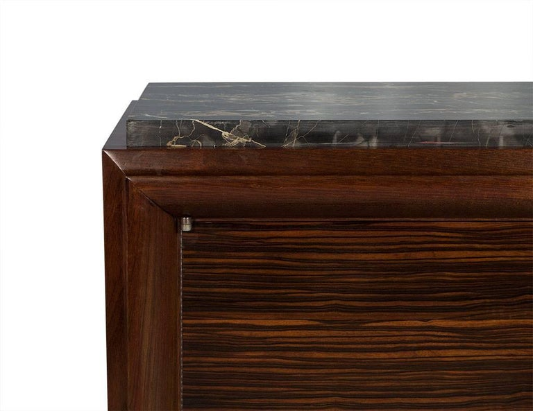 French Art Deco Macassar Ebony and Marble Sideboard 1