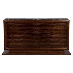 French Art Deco Macassar Ebony and Marble Sideboard