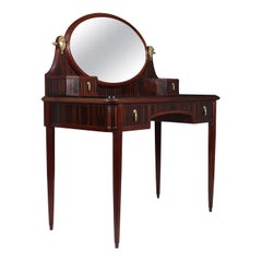 French Art Deco Macassar Ebony and Oak Dressing Table with Gilt Bronze Mounts