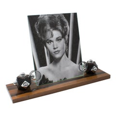 French Art Deco Macassar Wood and Chrome Picture Frame