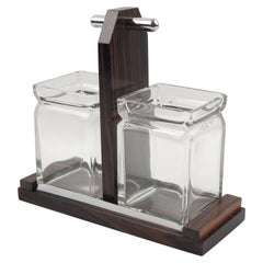 French Art Deco Macassar Wood and Crystal Condiment Jar Set