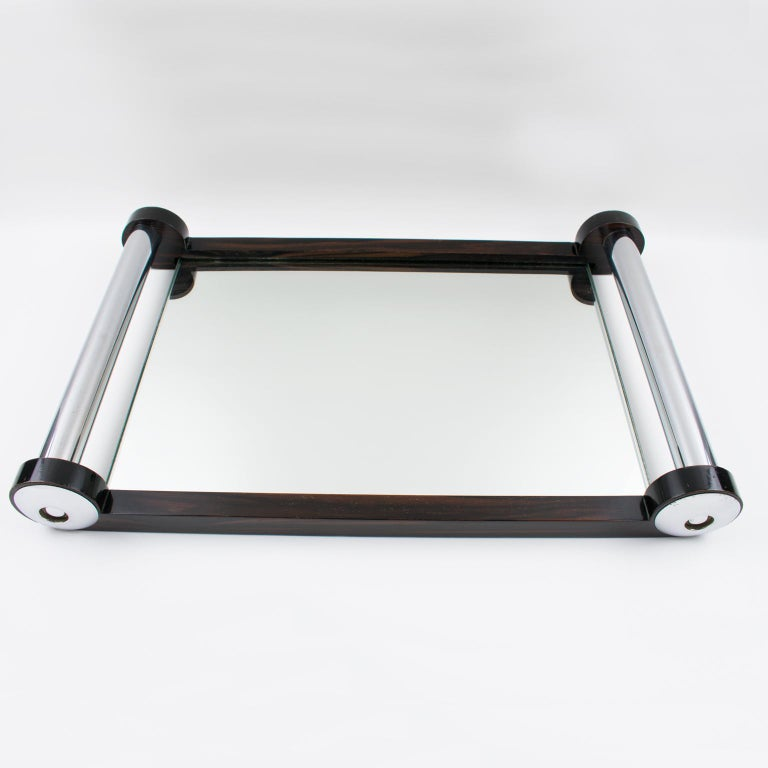 French Art Deco Macassar Wood and Mirror Serving Tray with Chrome Handles For Sale 7