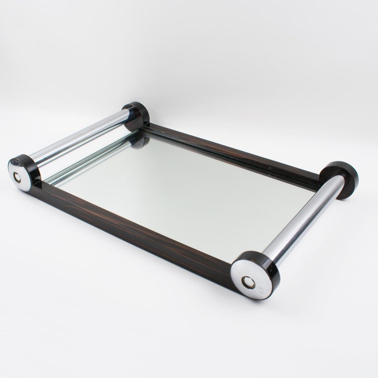 French Art Deco Macassar Wood and Mirror Serving Tray with Chrome Handles In Good Condition For Sale In Atlanta, GA