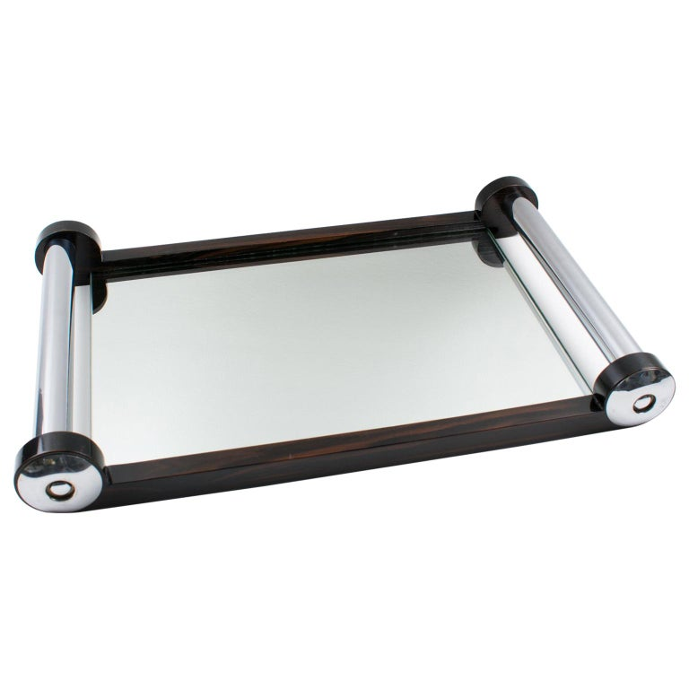 French Art Deco Macassar Wood and Mirror Serving Tray with Chrome Handles For Sale