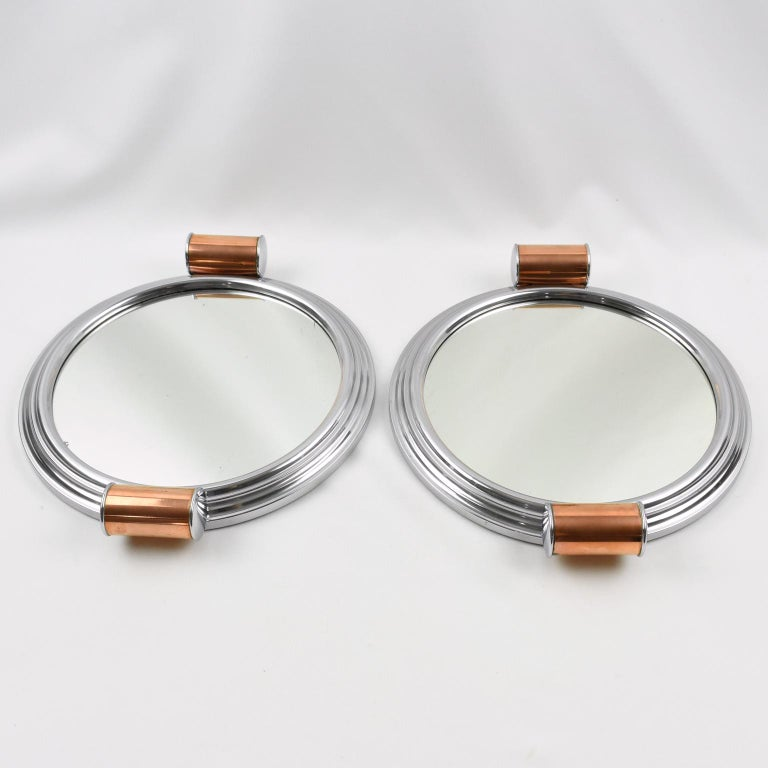 French Art Deco Machine Age Aluminum Mirror Copper Cocktail Serving Tray, a Pair In Excellent Condition For Sale In Atlanta, GA
