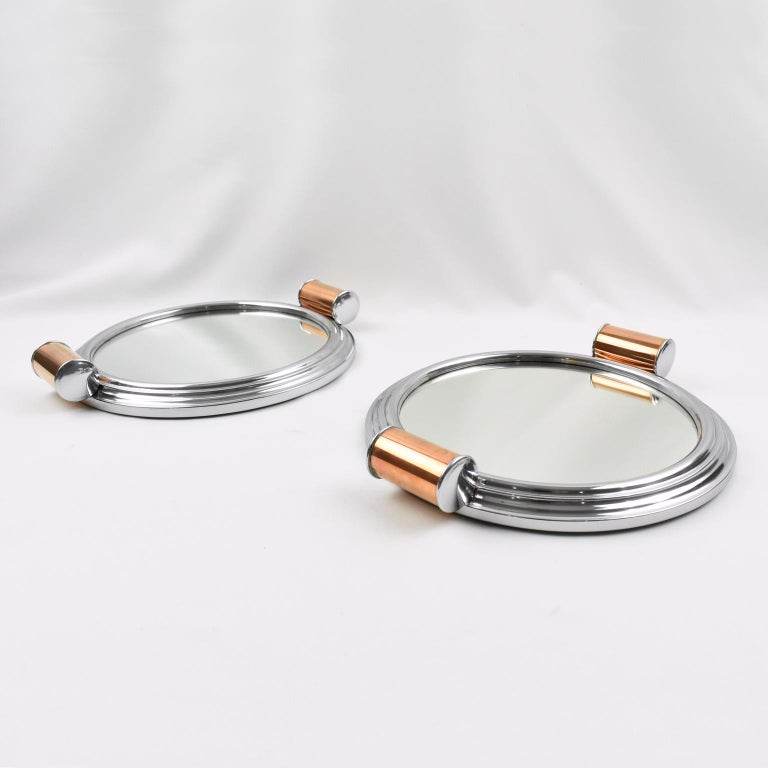 Mid-20th Century French Art Deco Machine Age Aluminum Mirror Copper Cocktail Serving Tray, a Pair For Sale
