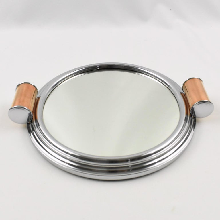French Art Deco Machine Age Aluminum Mirror Copper Cocktail Serving Tray, a Pair For Sale 1